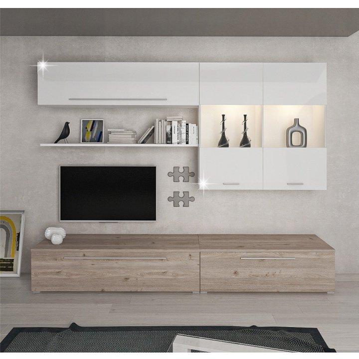 Obývacia stena, MDF/DTD laminovaná, dub nelson/biely HG, SOFI - Tempo nábytek
