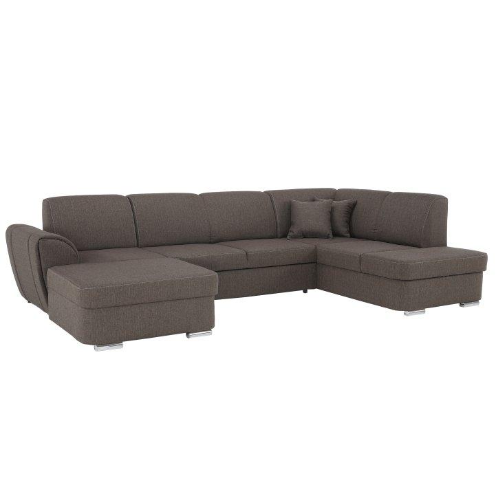 Sedacia súprava v tvare U, hnedá, pravá, PEPER U - Tempo nábytek