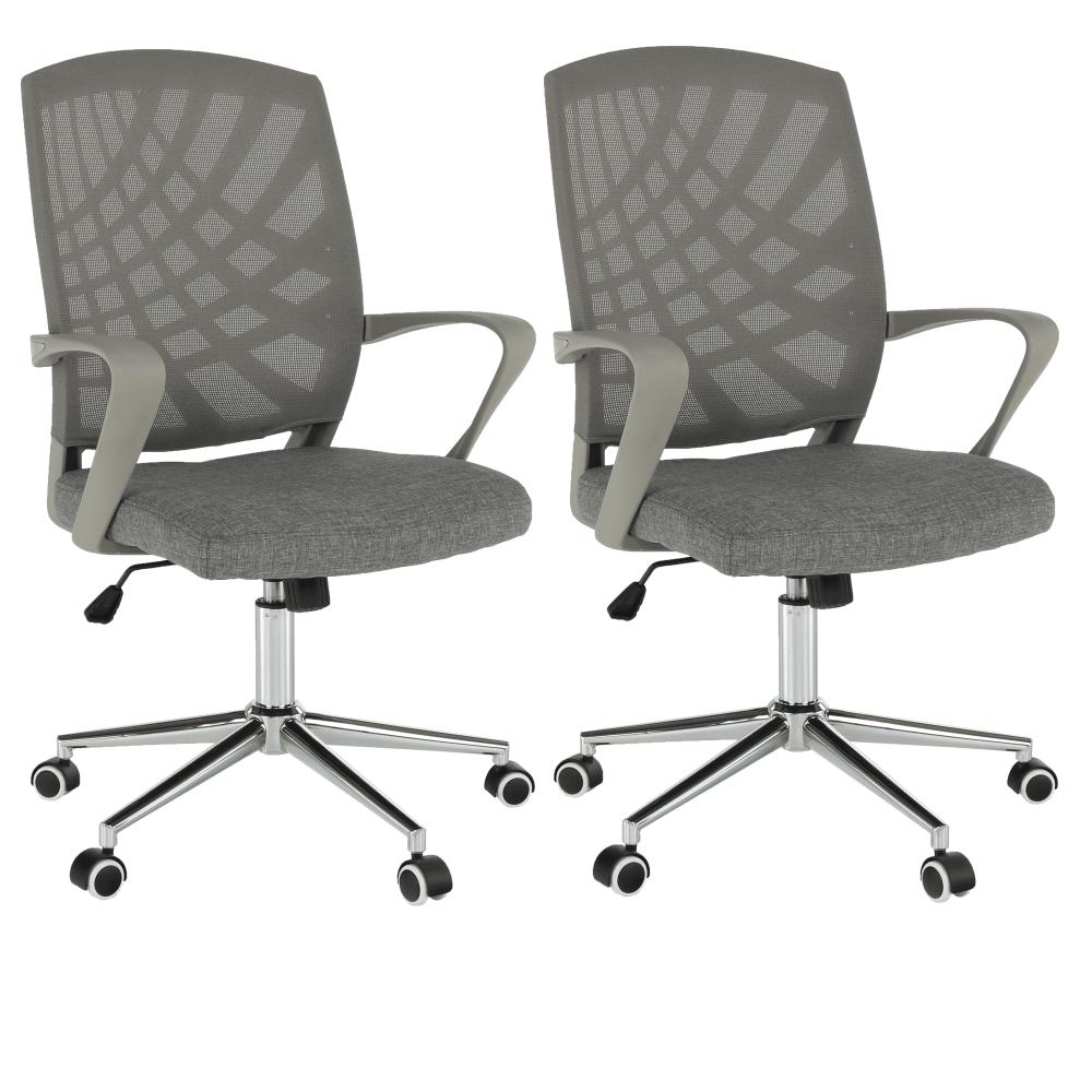 2 kusy, kancelárske kreslo, sivá/chróm, VIDAL - Tempo nábytek
