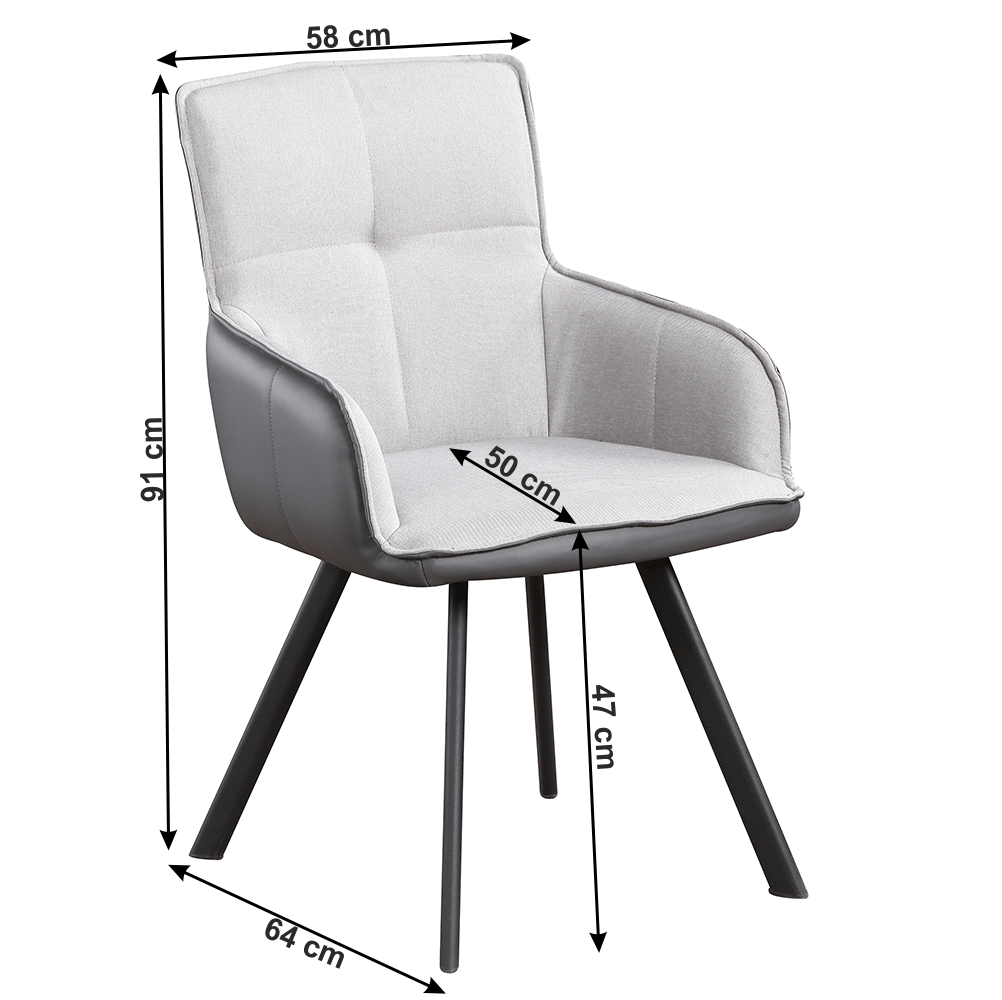 Kreslo, sivá/tmavosivá/čierna, TASMAN - Tempo nábytek