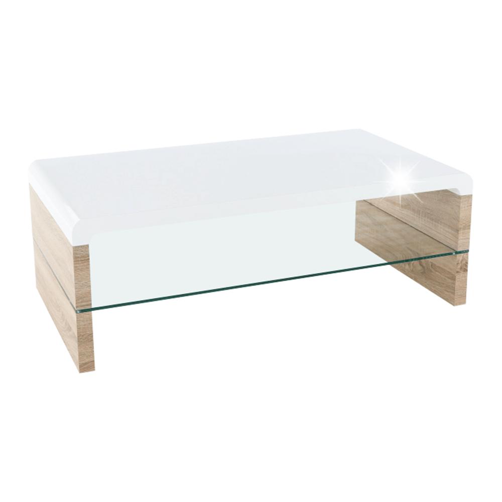 Konferenčný stolík, dub sonoma/biela extra vysoký lesk HG, KONTEX 2 NEW - Tempo nábytek