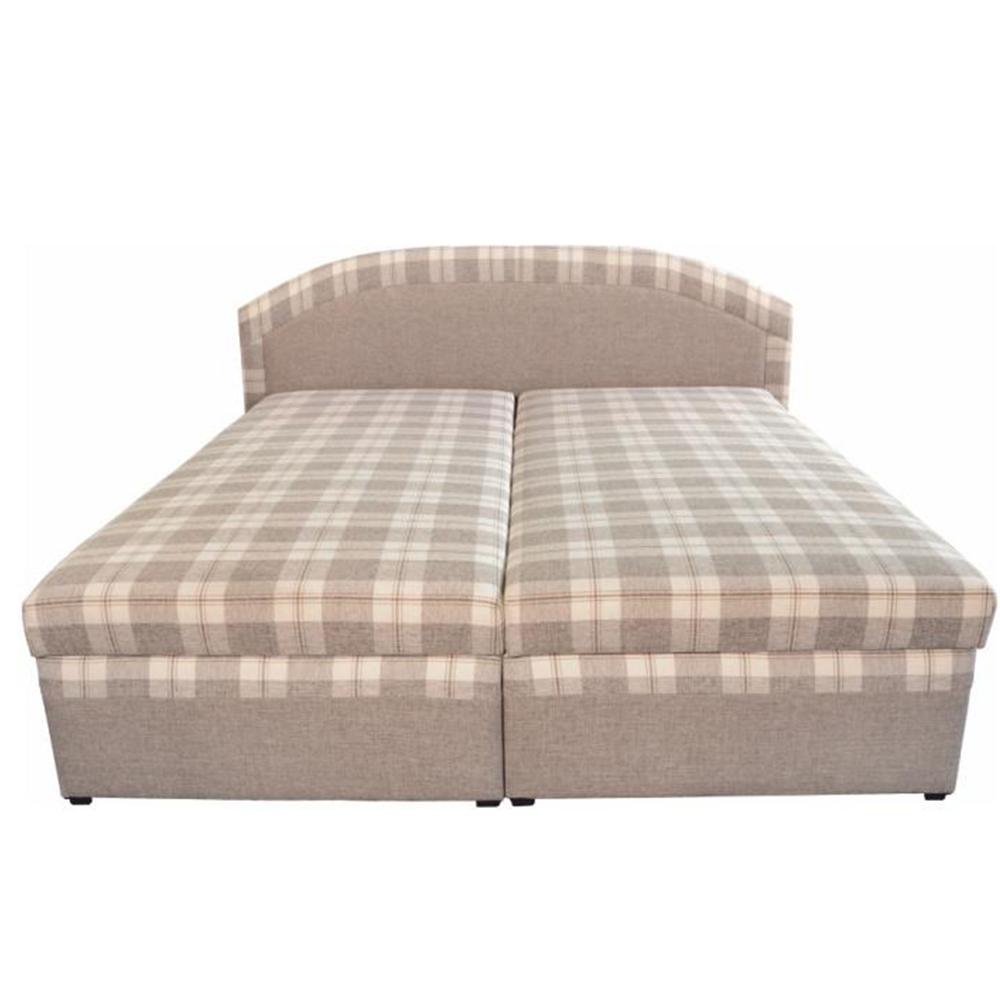 Manželská posteľ, béžová/vzor karo, 180x200, LUCIA - Tempo nábytek