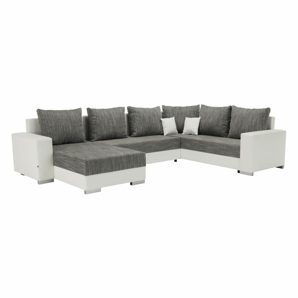 Rohová sedacia súprava, ekokoža biela/látka sivá, STILO - Tempo nábytek